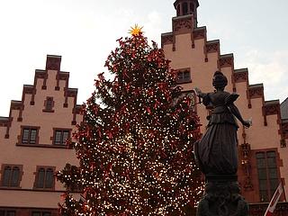Frankfurter Weihnachtsbaum leuchtet - Bertl erstrahlt auf dem Römerberg