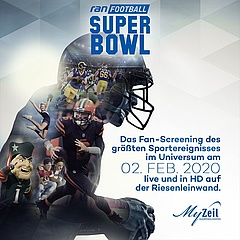 [The big Pro7 SuperBowl broadcast in the Astor Film Lounge in MyZeil