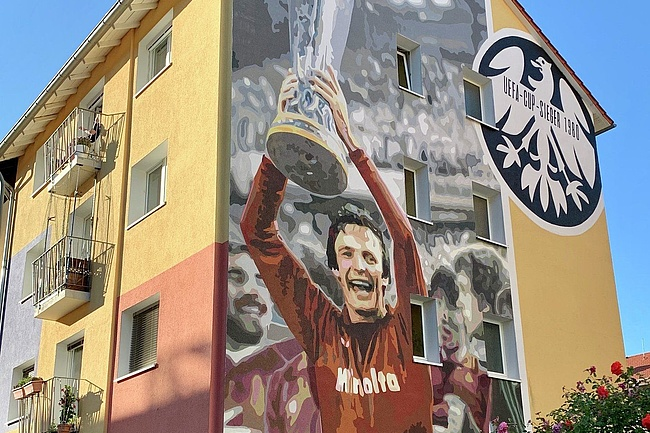 40 Years UEFA Cup Victory of Eintracht: A Wall Graffiti for Charly Körbel