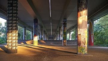 Umweltdezernentin Rosemarie Heilig eröffnet Graffiti-Galerie im GrünGürtel
