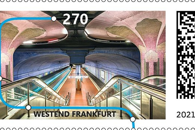 Stamp for a Frankfurt subway station